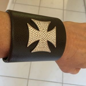Jewelry - Leather look crystal cross bracelet cuff. EUC